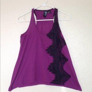 Tops - Women's purple w/black lace embellishment tank top
